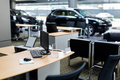 Reception desk car at car dealership showroom,reception Royalty Free Stock Photo