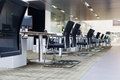 Reception desk rows of chairs neatly placed Stock Photo