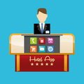 Receptionist of hotel and digital apps design