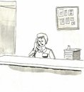 Receptionist nurse is answering phone on medical floor Stock Images