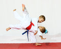 Receptions self defence good karate boy throws girl Stock Images