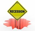 Recession Economy Warning Sign Financial Downturn Royalty Free Stock Photo