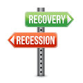 Recession and Recovery road sign Royalty Free Stock Photos