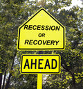 Recession or recovery sign. Royalty Free Stock Photo