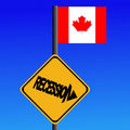 Recession sign Canadian flag Stock Photography