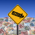 Recession sign with Euros Stock Images