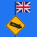 Recession sign with flag Royalty Free Stock Photo