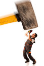 Recession strike work force giant hammer smashes worker employ employee over white background Royalty Free Stock Image