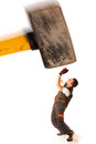Recession strike work force giant hammer smashes worker employ employee over white background Royalty Free Stock Photography