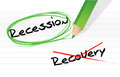Recession versus recovery selection illustration design over white Royalty Free Stock Photo