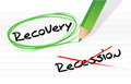 Recession versus recovery selection illustration design over white Royalty Free Stock Photography