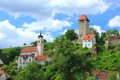 Rechtenstein germany in the danube valley with the medieval tower of the former castle baden wuerttemberg Royalty Free Stock Images