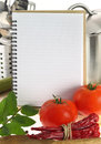 Recipe book blank and vegetables Royalty Free Stock Image