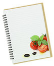 Recipe book fresh basil cherry tomatoes painting blank notebook page Stock Photography