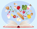 Recipe book an illustration of a with open pages and various food ingredients on a blue background Stock Photo