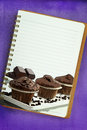 Recipe book muffins painting blank notebook page Stock Photos