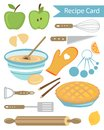 Recipe card colorful apple pie Stock Photos