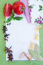 Recipe card with ingredients Royalty Free Stock Image