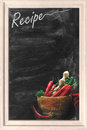 Recipe chalkboard with red chili peppers Stock Photography