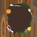 Recipe frame on wood background vector illustration Royalty Free Stock Photos