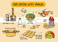 Recipe for homemade oat sticks with cheese. Step by step instructions