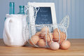 Recipe and ingredients in a country kitchen fresh eggs Royalty Free Stock Photo
