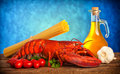 Recipe of lobster with linguine ingredients on wooden table Stock Photos