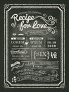 Recipe for love chalkboard wedding invitation card background Royalty Free Stock Image