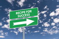 Recipe for success road sign with a directional arrow blue sky and cloudscape background Royalty Free Stock Image