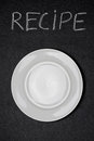 Recipe title written white chalk and empty plate on a blackboard vertical Royalty Free Stock Image