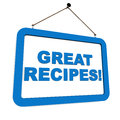 Recipes great on a hanging banner in blue over white concept of cooking Stock Photos
