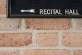 Recital hall sign on brick wall Stock Photography