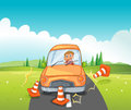 A reckless driver bumping the traffic cones illustration of Royalty Free Stock Images