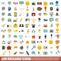 100 reclame icons set, flat style