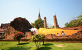 Recline buddha statues at wat yai chaimongkol ayutthaya thailand Royalty Free Stock Images