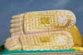 Reclining buddha details of the feet and buddhist symbolism of the bhudda mya tha lyaung bago myanmar it was built in on the Stock Photos