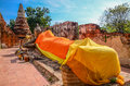 Reclining buddha image with ruin brick pagoda in temple of ayuthaya thailand Royalty Free Stock Images