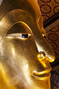 Reclining buddha of wat pho landmark and no tourist attractions in thailand or phra chettuphon wimon mangkhlaram is a buddhist Royalty Free Stock Photos