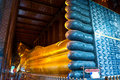 Reclining buddha in wat pho temple bangkok thailand Royalty Free Stock Photo