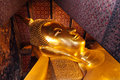 The reclining buddha of wat pho temple or phra chetuphon in thai Royalty Free Stock Image