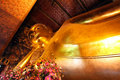 The reclining buddha of wat pho temple was built in in reign king rama iii Royalty Free Stock Photography