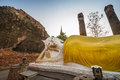 Reclining buddha at wat yai chai mongkol old temple ayutthaya thailand world heritage site Royalty Free Stock Image