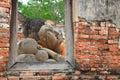 Reclining Buddha  from window frame in Ayutthaya Stock Photos