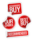Recommended buy stickers set. Royalty Free Stock Photography