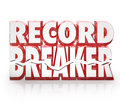 Record breaker d words historic best score results top or in competition to illustrate winning a game or challenge Stock Photo