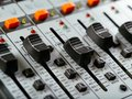 Recording studio faders macro photo of of a soundboard Stock Photos