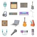 Recording studio icons set, cartoon style Royalty Free Stock Photo