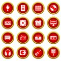 Recording studio items icon red circle set