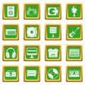 Recording studio items icons set green