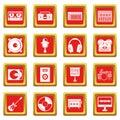 Recording studio items icons set red